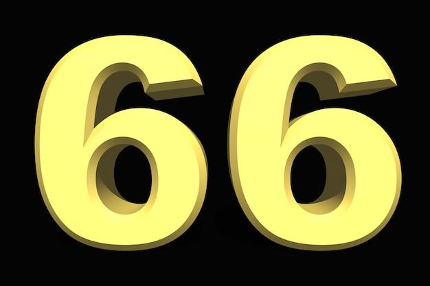 66 sześćdziesiąt sześć cyfr 3d niebieski na ciemnym tle