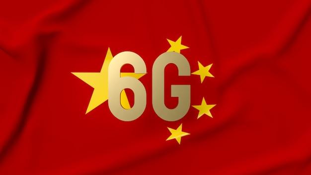 6g złota na chińskiej fladze do renderowania 3d koncepcji technologii lub komunikacji