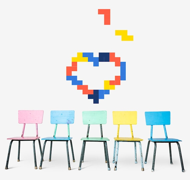 8-bitowa ilustracja romantycznego serca miłości
