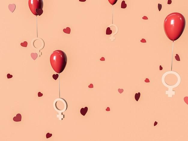 8 marca 3d ilustracja z czerwonymi balonami i symbolami kobiet. koncepcja międzynarodowego dnia kobiet.