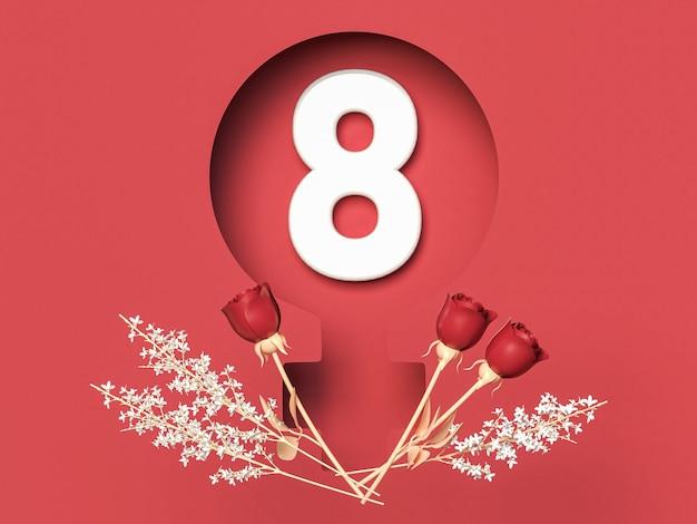 8 marca 3d ilustracja z ósemką w symbolu femlae z różami. koncepcja międzynarodowego dnia kobiet.