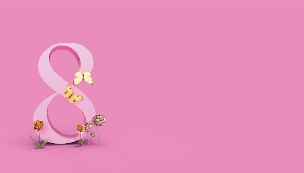 8 marca, happy women's day backgraund 3d render