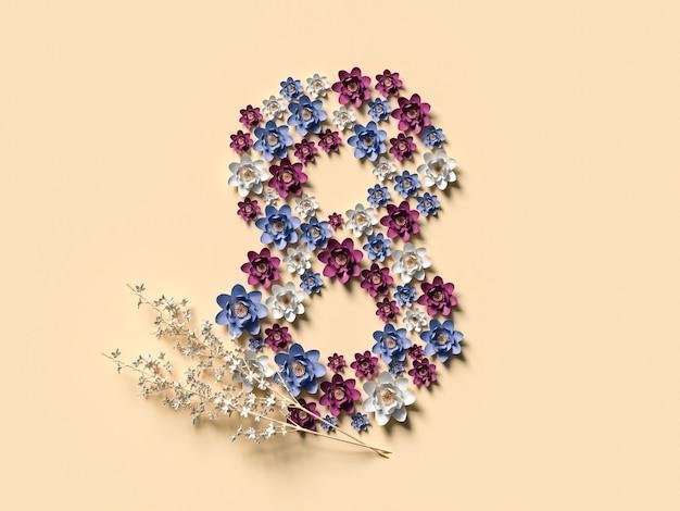 8 marca ilustracja 3d z ośmioma kwiatami. koncepcja międzynarodowego dnia kobiet.