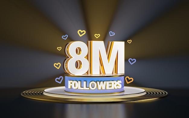 8 milionów obserwujących świętuje dziękuję banerowi w mediach społecznościowych ze złotym tłem w centrum uwagi 3d