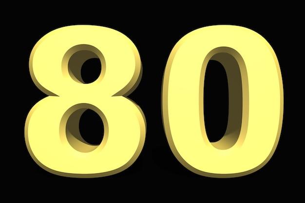 80 osiemdziesiąt numer 3d niebieski na ciemnym tle