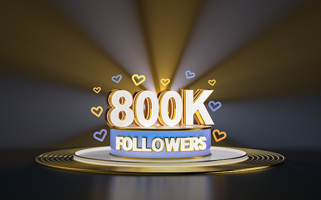 800k obserwujących celebrację dziękuję banerowi w mediach społecznościowych z podświetlanym złotym tłem renderowania 3d