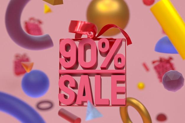 90% sprzedaży z łukiem i wstążką projektowania 3d na abstrakcyjnej geometrii
