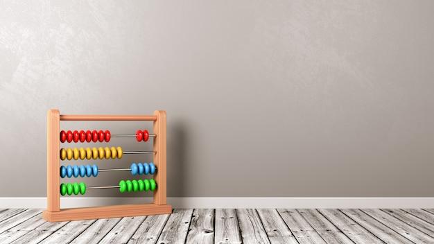 Abacus na drewnianej podłodze przed ścianą