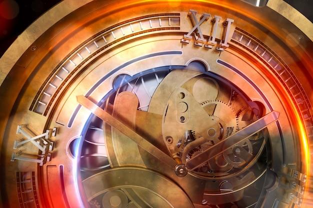 Abstaract 3d renderowania ilustracja zegarków z biegami. staro wyglądający metal ze srebrnymi i szklanymi elementami. szczegółowe struktury. cząsteczki i elementy żarowe.