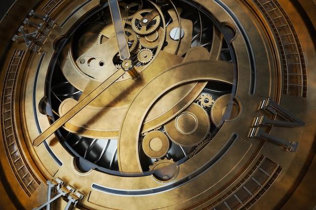 Abstaract 3d renderowania ilustracja zegarków z biegami. staro wyglądający metal ze srebrnymi i szklanymi elementami. szczegółowe struktury.