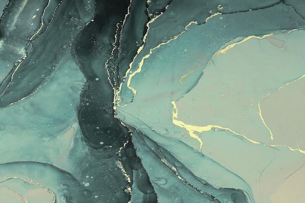 Abstarct płynne tło z aguamaryną i złotymi plamami