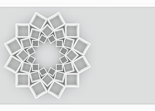 Abstract biały sqaure w kształt gwiazdy na szarym tle.