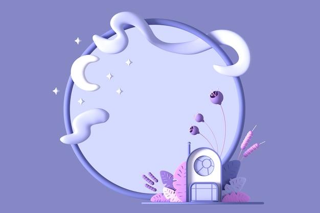 Abstrakcja kreskówka bajkowy mały przytulny domek w pastelowych kolorach na tle fantastycznych stylizowanych roślin