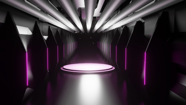 Abstrakcja, projektowanie wnętrz, tunel, korytarz, koncepcja przestrzeni, renderowanie 3d