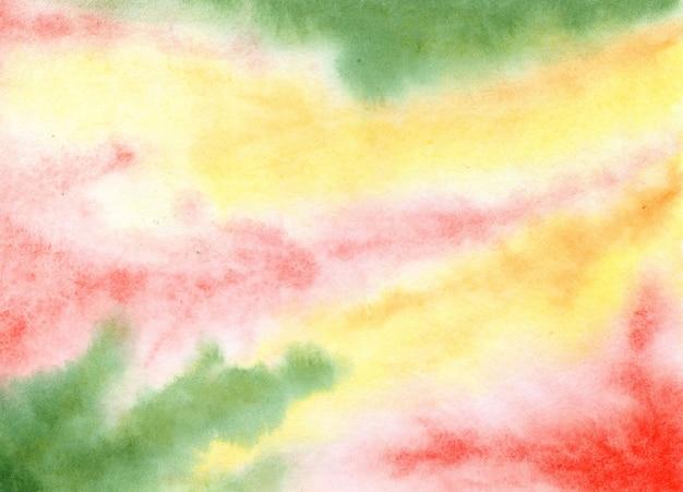 Abstrakcja żółtozielona z czerwoną płynną farbą marmurowa tekstura na sezonowy jesienny projekt graficzny