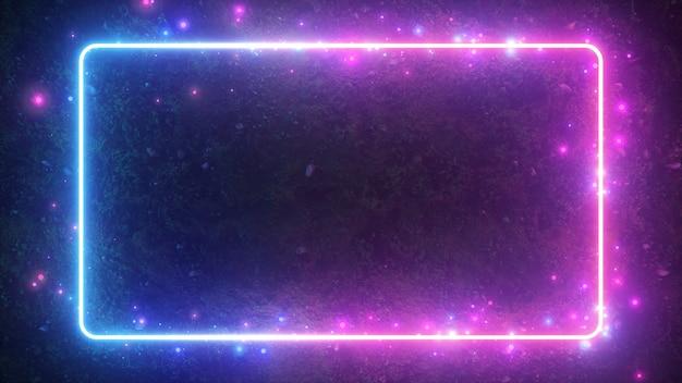 Abstrakcjonistyczna 3d ilustracja neonowa jarzy się rama