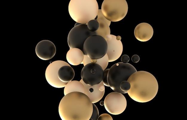 Abstrakcjonistyczna 3d sztuki ściana z geometryczną złotą i czarną kolor kulą.