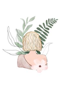 Abstrakcjonistyczna akwareli ilustracja kobieta z liśćmi i kwiatami na białym tle. projekt karty z pozdrowieniami na dzień kobiet.