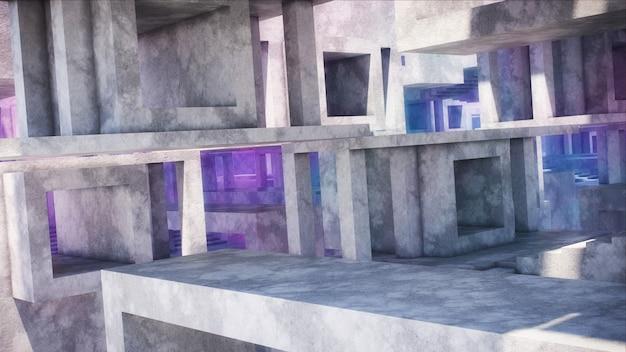 Abstrakcjonistyczna architektura wykonana z betonu. konstrukcje betonowe z jasnym oświetleniem.