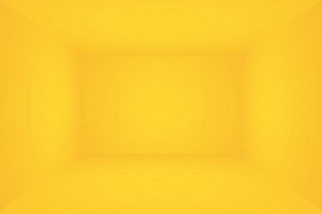 Abstrakcjonistyczna bryła olśniewający żółty gradientowy studio ściany pokoju tło.