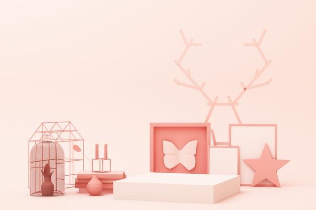Abstrakcjonistyczna geometryczna kształta pastelu menchii koloru scena minimalna z dekoracją i wsparciem, projektem dla kosmetyka lub produktu pokazu podium 3d, odpłaca się
