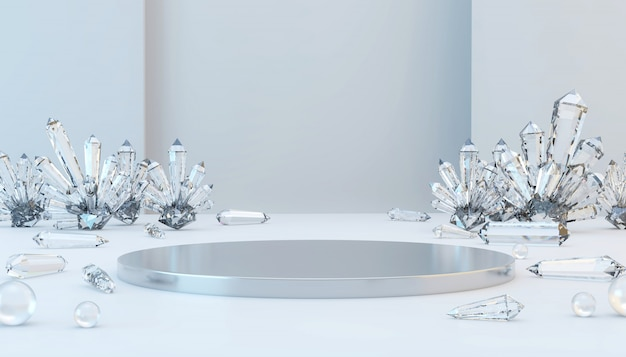 Abstrakcjonistyczna luksusowa metal scena z żrącą kryształową i szklaną piłką, szablon dla reklamowego produktu, 3d rendering.