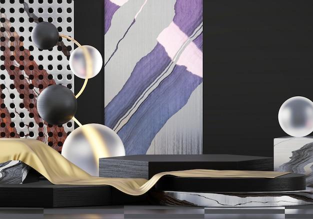 Abstrakcjonistyczna minimalna przedmiot sceny gablota wystawowa dla produktu pokazu teraźniejszości tła, 3d rendering.