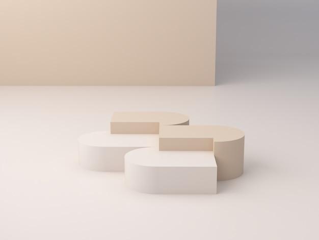 Abstrakcjonistyczna minimalna scena z geometrycznymi formami. abstrakcyjne tło. scena pokazująca produkty kosmetyczne i biżuterię. prezentacja, witryna sklepowa, gablota. renderowania 3d.