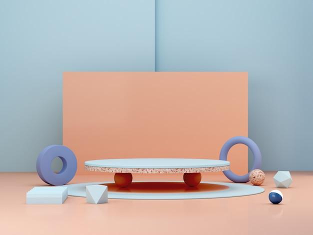 Abstrakcjonistyczna minimalna scena z geometrycznymi formami. cylindryczne podium w kremowych i pastelowych kolorach.