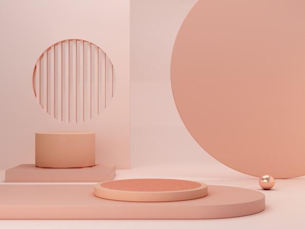 Abstrakcjonistyczna minimalna scena z geometrycznymi formami. podium cylindryczne w kremowych kolorach. abstrakcyjne tło. scena pokazująca produkty kosmetyczne. prezentacja, witryna sklepowa, gablota. renderowania 3d.