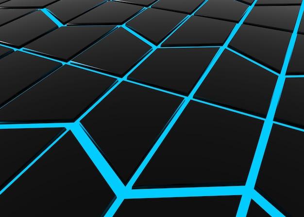 Abstrakcjonistyczna nowożytna czarna trapezoidu kształta wzoru płytka otaczająca błękitnym światła ściany backgroun