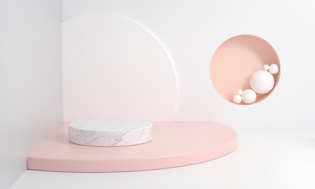 Abstrakcjonistyczna platforma dla show piękna kosmetycznego minimalistycznego stylu z pastelowym kolorem, rendering 3d.