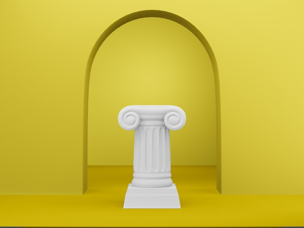 Abstrakcjonistyczna podium kolumna na żółtym tle z łukiem. cokół zwycięstwa to minimalistyczna koncepcja. renderowanie 3d.