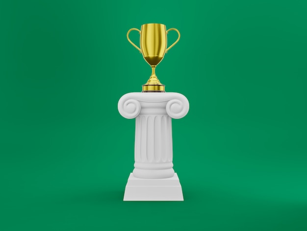 Abstrakcjonistyczna podium kolumna z złotym trofeum na zielonym tle