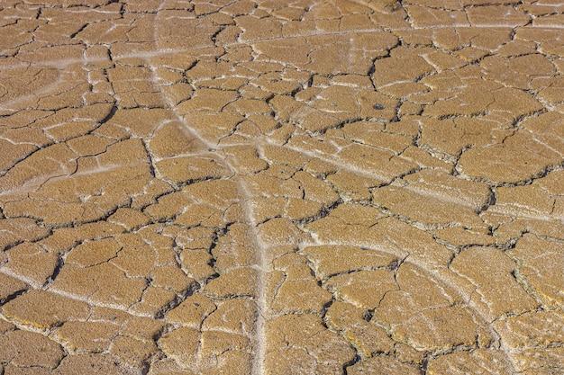 Abstrakcjonistyczna tekstura wysuszona krakingowa przypieczona ziemia. globalne ocieplenie i niedobór wody na koncepcji planety. zestalona brązowa powierzchnia ziemi na tło lub projekt graficzny.