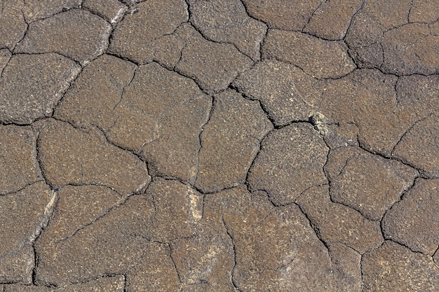 Abstrakcjonistyczna tekstura wysuszona krakingowa przypieczona ziemia. globalne ocieplenie i niedobór wody na koncepcji planety. zestalona szara powierzchnia ziemi dla tła lub projektu graficznego.