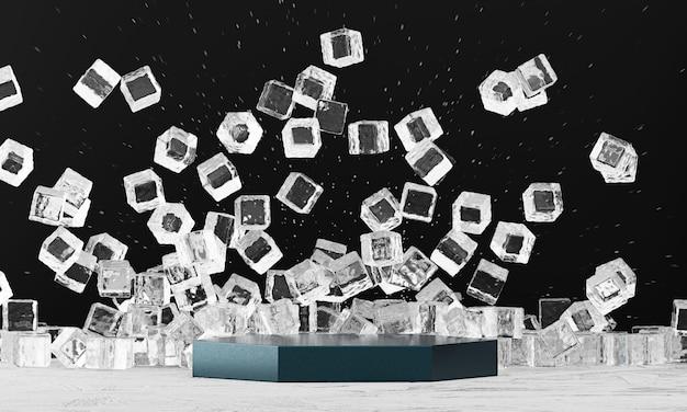 Abstrakcjonistyczne kostki lodu wybucha z produkt sceną teraźniejszą dla reklamowego tła, 3d rendering.
