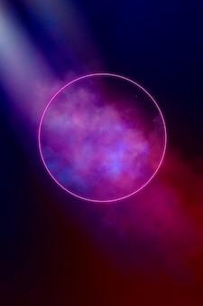 Abstrakcjonistycznego geometrycznego okręgu neonowy jarzeniowy tło