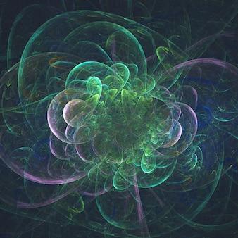 Abstrakcjonistycznego rozjarzonego fractal surrealistyczny kwiat w ruchu