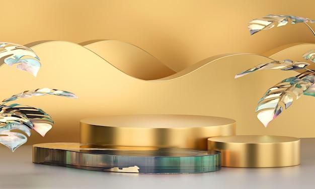 Abstrakcjonistycznej eleganci sceny luksusowa złota platforma, szablon dla reklamowego produktu, 3d rendering.