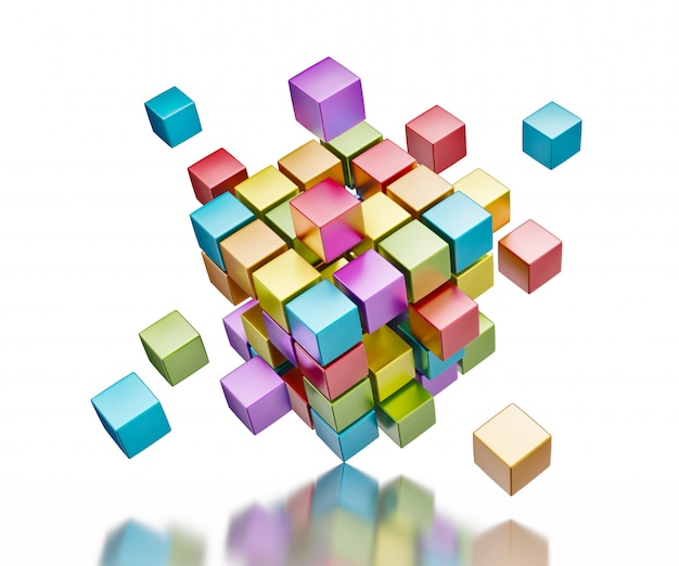 Abstrakcjonistyczni kolorowi sześciany na odbijającej powierzchni