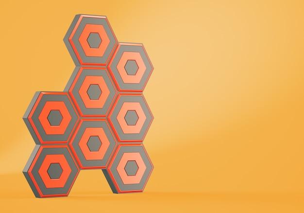 Abstrakcjonistyczni sześciokąty na pomarańczowym tle