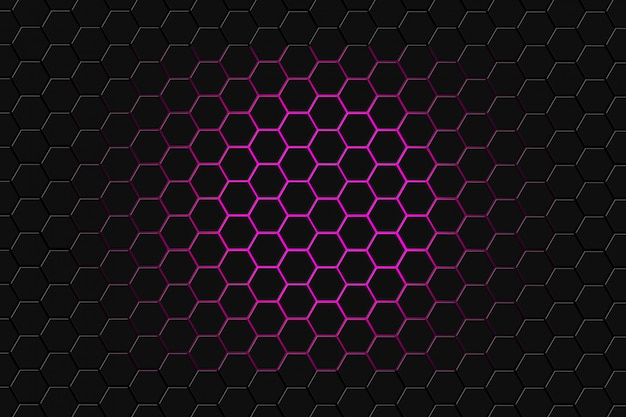 Abstrakcjonistyczny 3d rendering futurystyczna powierzchnia z sześciokątami. ciemnofioletowe tło science fiction.