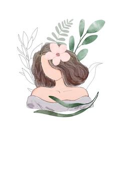 Abstrakcjonistyczny akwarela portret kobieta z liśćmi i gałązkami. projekt karty z pozdrowieniami na dzień kobiet.