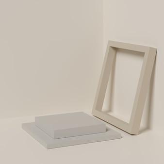 Abstrakcjonistyczny beżowy koloru tło z beżowym koloru geometrycznym kształta podium dla produktu.