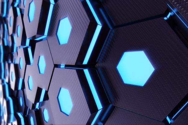 Abstrakcjonistyczny błękitny jarzyć się futurystyczny nawierzchniowy sześciokąta wzór, 3d rendering
