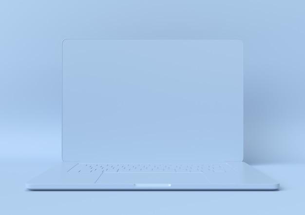 Abstrakcjonistyczny błękitny koloru notatnik, nowożytny minimalista, 3d rendering