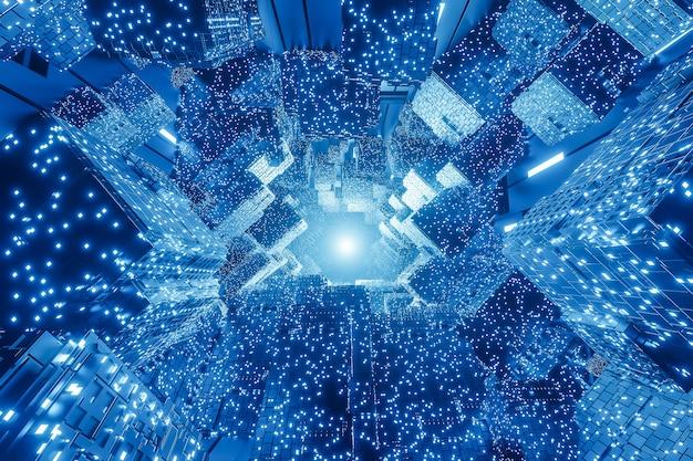 Abstrakcjonistyczny cyfrowy futurystyczny sci-fi tło.