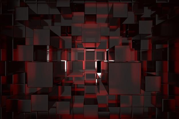 Abstrakcjonistyczny czerwony sześcianu tło.