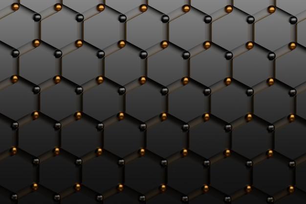 Abstrakcjonistyczny futurystyczny tło z czarnymi sześciokątami i błyszczącymi złotymi i czarnymi sferami.